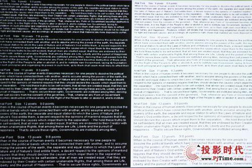 黑底白字、白底黑字的文字测试,丽讯Qumi Q2和宏碁K130打平,两