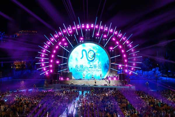 图 台达携手广州长隆水上乐园打造了高达77.41平米的圆弧形户外巨幕