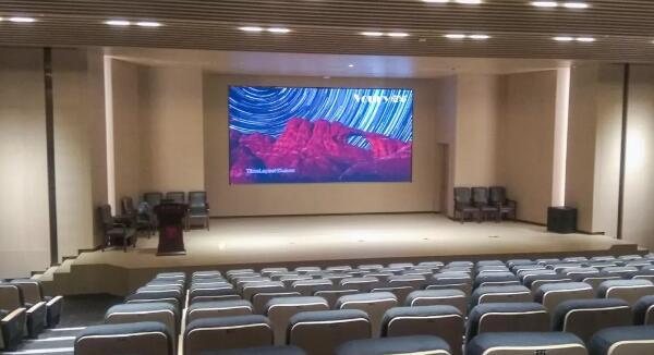 济宁市图书馆报告厅应用Voury卓华微间距LED拼接大屏幕