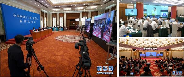 ▲洲明第三代UMini产品入驻人民大会堂与梅地亚新闻中心,为2020年全国两会打造5G+4K/8K见屏如面视频交互体验。(