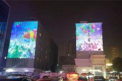 DET激光投影机打造南昌站前路楼体投影盛宴